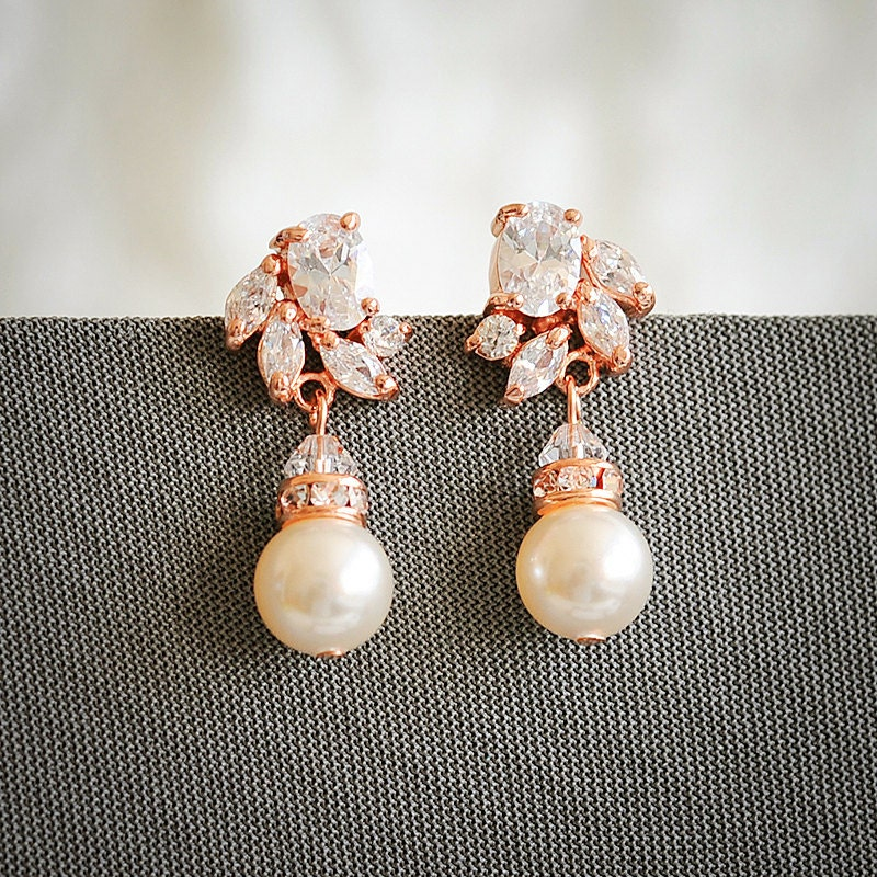 Rose gold bridal earrings art deco crystal wedding earrings for Deco maison rose gold