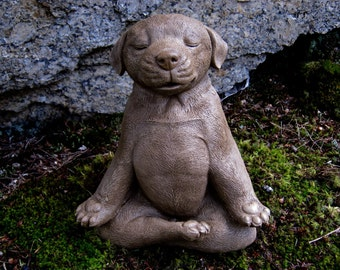 Meditating Dog Statue, Zen Yoga Dog Cement Garden Statue, Concrete Dog Statue, Unique Garden Decor