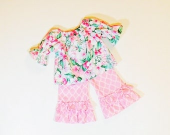 SUMMER SALE Girls Shabby Chic Ruffle Pants OUTFIT Size 3mo to 4T Boutique  Clothes Baby Toddler 3mo 6mo 9mo  12mo 18mo 24mo 2T 3T 4T
