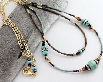 Boho Turquoise Necklace, Boho Long Necklace, Beaded Turquoise Necklace, Turquoise Jewelry, Turquoise Pendant, Turquoise Gold, Boho Jewelry