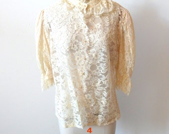 Pretty Deadstock Vintage Lace Blouse Pearl Buttons Sz M-L