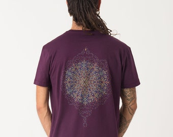 Mens T shirt In Aubergine, Sacred Geometry Shirt For Men, Uv Reactive, Burning Man, Graphic Tee, Festival Clothing