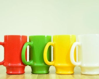 Vintage Mod Milk Glass Coffee Mugs Colorful Pedestal Style:  Set of 4