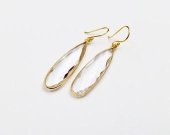 Clear Crystal Quartz Earrings - Gemstone Earrings - Gold drop Earrings - Dangle Earrings