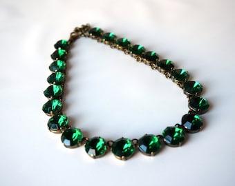 Emerald Anna Wintour Necklace, Green Statement Necklace, Emerald Crystal Necklace, Crystal Choker Collet Emerald Georgian Paste Jewelry