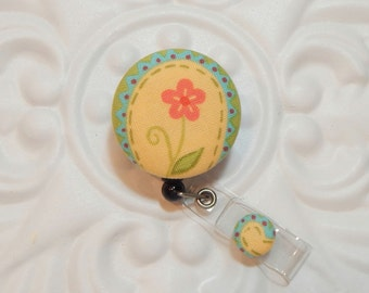 Retractable Badge Holder Id Reel  Fabric Covered Button Flower