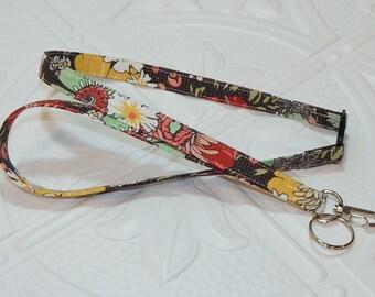 Badge Lanyard - Fabric Lanyard - Breakaway Lanyard - Floral Lanyard - Badge Holder Lanyard - Teacher Lanyard - Keychain Lanyard