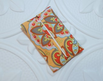 Pocket Tissue Holder - Travel Tissue Holder - Tissue Holder - Fabric Tissue Case  - Apricot Print