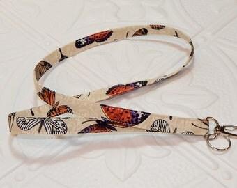 Lanyard - Fabric Lanyard - Teacher Lanyard - Key Lanyard - Butterflies