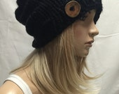 Knit Slouchy Hat Beanie Vegan Black With Wood Button Warm And Cozy