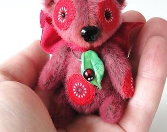 Hand made Collectable artist mini teddy bear stuffed animal OOAK Lady B