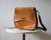 Bag Leather Purse Tooled Brown Cyprus - 1970s Vintage