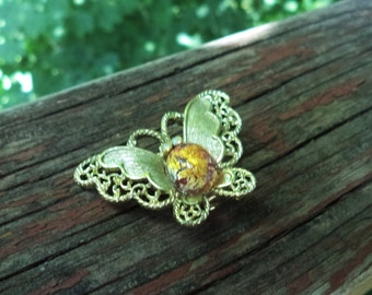 Vintage Gold Tone Butterfly Brooch with Faux Amber Cabochon