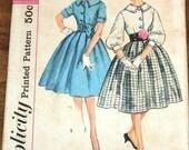 Simplicity 3071 Bishop Sleeve Shirtwaist Dress, Contrast Bodice, Belt Womens Misses Vintage 1950s Sewing Pattern Bust 36 Uncut Factory Folds