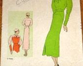 Vogue 1930s Art Deco Contrast Frock Dress, Leg o Mutton Sleeves, Hip and Shoulder Yoke, Women's Vintage Sewing Pattern 6222, Bust 34 Hip 37