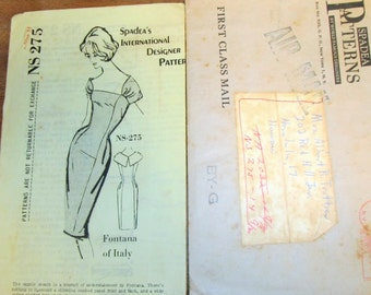 Spadea NS275 Fontana of Italy Fitted Sheath Dress Womens Misses Vintage 1960s Complete Unprinted Mail Order Designer Sewing Pattern Bust 34