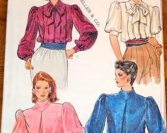Vogue 8464 Blouse, Inverted Pleat or Tucked, Funnel Collar or Tie, Women's Vintage 1980s Sewing Pattern Size 14 Bust 36 Uncut Factory Folds