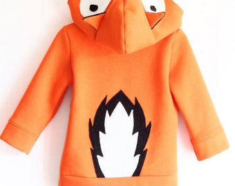 Kids' hooded fox sweatshirt. Halloween costume. Sizes from 2 to 7 years. Made to order.