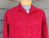 vintage 1950's -Winter Wear- Men's long sleeve shirt w/ button loop collar. Red corduroy - All Cotton. Medium