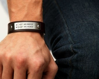 Mens custom coordinates leather bracelet - Personalize with the coordinates of your choice - Handcrafted in USA