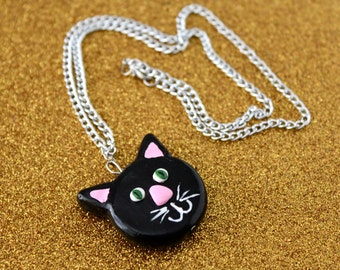 Black Cat Necklace / Cats / Cat /Kitty / Black Cat / Halloween / Kitschy / Hand Painted Necklace / Charm Necklace / Animals / Pets / Salem