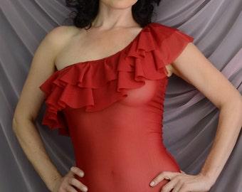 Women Sleepwear & Intimates Bras The Carmen Red Tulle Rouche Bodysuit MADE TO ORDER