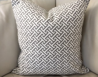 Set of Two Geometric Decorative Pillow Covers 20X20 Grey Pillow