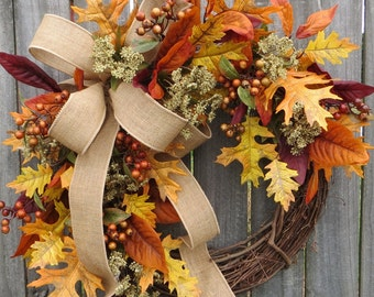 Fall Wreath,Burlap and Fall Leaves Wreath, Fall Wreath in Burgundy, Yellow, Fall Magnolia, Burlap, Fall Harvest Wreath, Thanksgiving Wreath