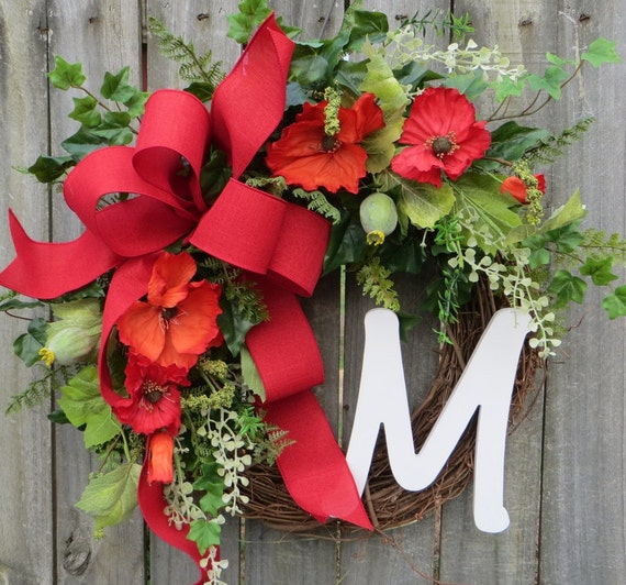 Wreath, Poppy Fields Wreath,  Wreath Summer and Spring, Wreath with Monogram, Wreath with Red Bow, Housewarming Gift, Home Decor Gift