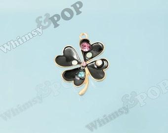 1 - 4 Leaf Clover Irish Black Clover Four Leaf Clover Rhinestone Enamel Charm, Clover Charm, ...