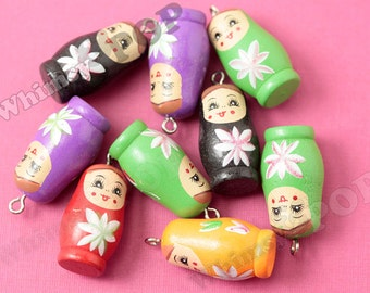 10 - Mixed Color Wood Wooden Russian Matryoshka Pendants, Wood Russian Doll Pendants, 38mm x 18mm (R9-036)