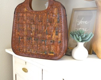 1970s Original Handbag Awesome Stamped Vinyl Brown Vegan Leather Woven Look Purse Anthropologie Style Seventies VTG Accessory Bag