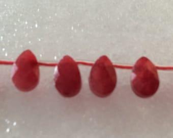 Ruby Quartz Briolettes 8x5mm pear shape QTY - 2