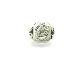 Edwardian Ring. Engraved Signet Ring. Personalized Monogram Initials AG or GA. Antique 800 European Silver. Vintage 1910s Jewelry. Size 11