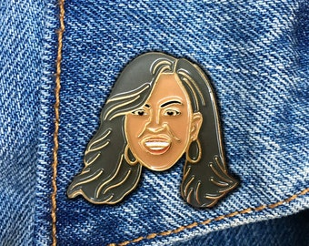 Michelle Obama Enamel Pin, First Lady, Soft Enamel Pin, Jewelry, Art, Gift (PIN61)