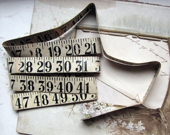 Antique measuring tape - Large painted cloth tape with bold black numbers - sewing room decor