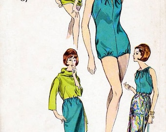 1960s Bathing Suit Blouse & Skirt Pattern Vogue 6211 Vintage Sewing Pattern One Piece Swimsuit Cowl Neck Top Maxi Knee Length Skirt Bust 34