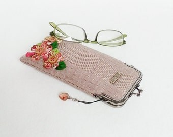 Beautiful Brown Glasses Case, Eyeglass Case, Spectacle Case, Metal Frame Purse