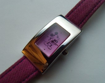Ladies Mickey Mouse Watch Pink Crystal Stainless Steel Rectangular