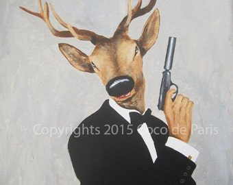 Original Deer painting on streched canvas, my name is bond, Spectre, James Bond Deer, Acrylic Painting by Coco de Paris