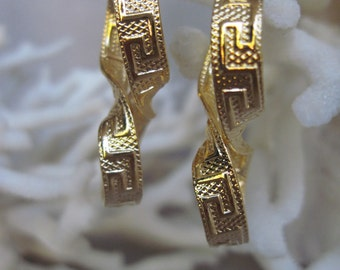 Greek Key Inside and Out Infinity Gold Filled Hoop Earrings