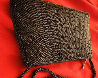 Purse black jet beaded evening formal bugle beads satin
