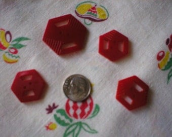 Attractive Set of Four Vintage Cherry Red Bakelite Buttons  ~ Hexagon Shape ~ Circa 1930s ~ Two-hole, Sew-through Button