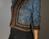 Vintage Wool Folk Sweater XS S M Blue Knit Earthy Bohemian Hippie Gypsy Boho Club Kid Mod PNW Hipster Festival Embroidered Jacket Coat Fall