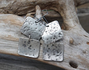 Silver Square Dangles -- Hand Cut, Hammered, Textured, Oxidized Fine Silver (.999) Organic Double Square Earrings. Artsy. Edgy. Whimsical.
