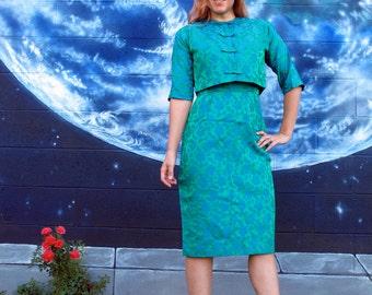 1950s DRESS & JACKET SET satin floral brocade bows pencil midi fitted pinup damask jewel green blue 2 piece vintage Lady Carol // size S / M