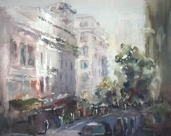 "San Francisco, street scene, California, architecture. Shopping in Chinatown, San Francisco- Original Watercolor Painting 12"" x 12""."