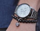 Men's Bracelet. Bead bracelet for men. Jewelry for men. Adjustable elastic bracelet. Black Tourmaline beads with a leopard Pave CZ charm.