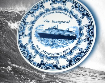 Blue Delft Plate of MS Maasdam by Royal Goedewaagen Pottery