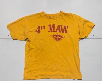 LRG | 1970's Vintage Champion 4th MAW Yellow T shirt Fourth Marine Aircraft Wing